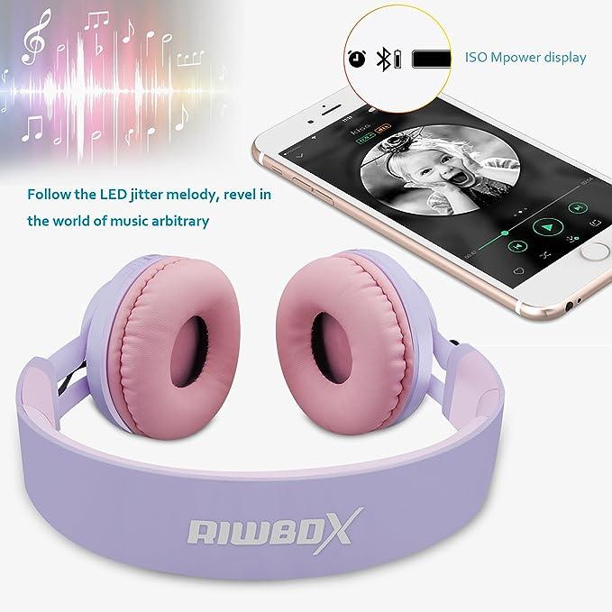 Auriculares Riwbox WT 7S inalámbricos con Bluetooth, luz LED, plegables, con micrófono y control de volumen para PC, iPhone, TV, iPad: Amazon.es: ...
