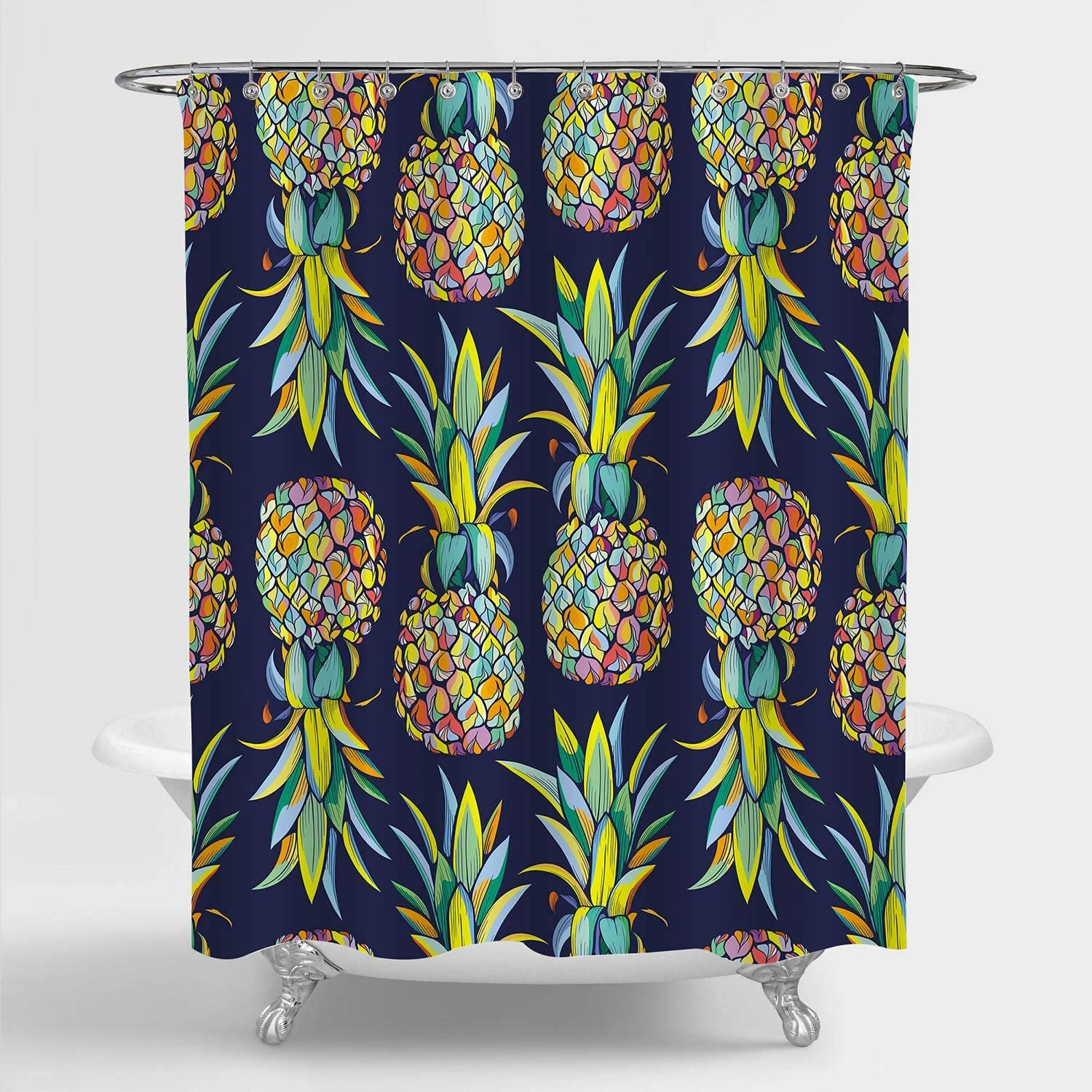 "MitoVilla Tropical Fruit Pineapple Shower Curtain for Pineapple Bathroom Decor, Aloha Jungle Plant Bathroom Accessories, Pineapple Gifts for Women, Men, Kids and Girls, Colorful, 72"" W x 72"" L"
