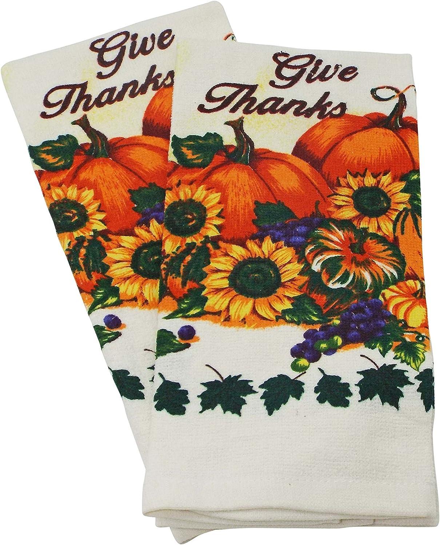 2 Towels Bristola Home Designs Pumpkin /& Sunflower Kitchen Linen Set 2 Potholders and 1 Oven Mitt