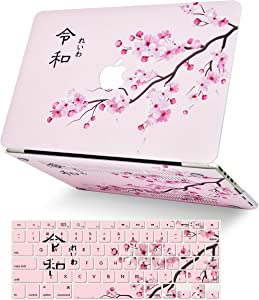 """LuvCase 2 in 1 Laptop Case for MacBook Pro 13"""" (2020) with Touch Bar A2251/A2289 Rubberized Plastic Hard Shell Cover & Keyboard Cover (Cherry Blossom)"""