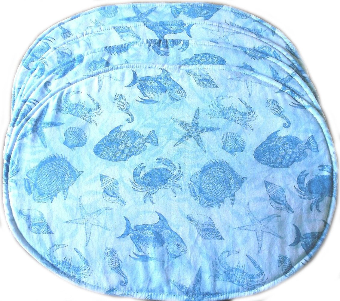 "Unique & Custom {12.5'' x 17'' Inch} Set Pack of 4 Oval ""Flat & Smooth Texture"" Large Reversible Table Placemats Made of Washable Cotton Fabric w/ Oceanic Sea Animal Beach Fish Design [Blue Color]"