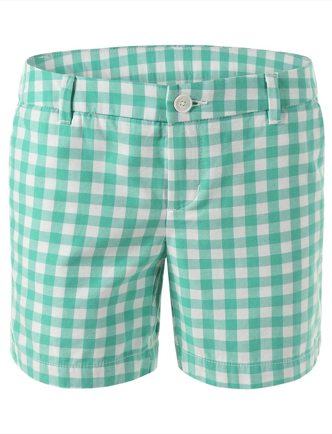 7 Encounter Women's Low Rise Casual Stretch Cotton Chino 5'' Shorts (8, Tumble Green)