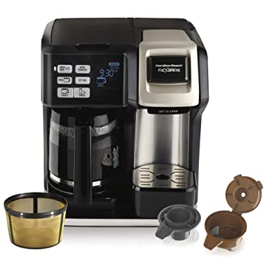 Hamilton Beach (49950C) FlexBrew Coffee Maker, Single Serve & Full Coffee Pot, Compatible with K-Cup Packs or Ground Coffee, Programmable, Includes Permanent Filter