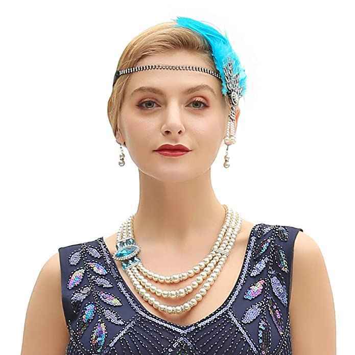 1920s Gatsby Jewelry- Flapper Earrings, Necklaces, Bracelets Metme Womens Simulated Faux Multi-Strand Pearl Statement Necklace and Earrings Set 1920s Gatsby Imitation Flapper Accessories $15.99 AT vintagedancer.com
