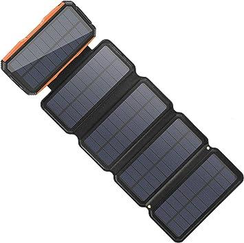 Sendowtek Cargador Solar Móvil 26800mAh Power Bank 4 Paneles Solares Cargador Plegables Batería Externa Banco de Energía Portátil 2 Puertos USB LED ...