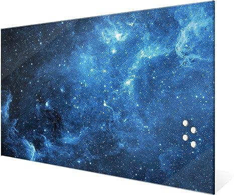 Magnetwand 45x30cm gro/ß Magnetboard gro/ß mit Motiv Salut de Paris Memoboard beschreibbar perfekt f/ür die K/üche BANJADO Glas Magnettafel mit 4 Magneten