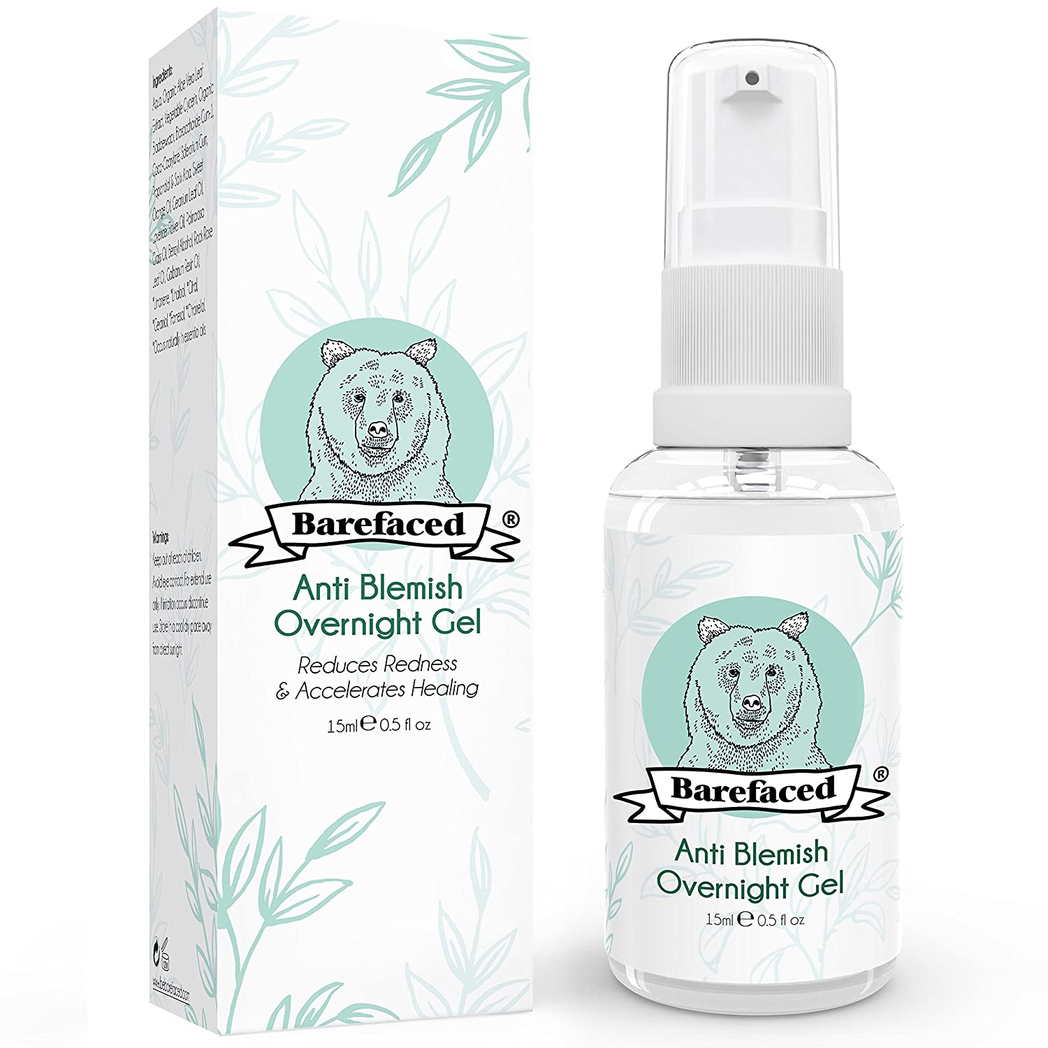 BeBarefaced Natural Anti Blemish Overnight Spot Treatment Gel - Sanitises, Speeds Healing Process, Reduces Redness, Combats Swelling and Soothes Inflammation - With Calming Organic Aloe and Seaweed BeBarefaced Ltd.