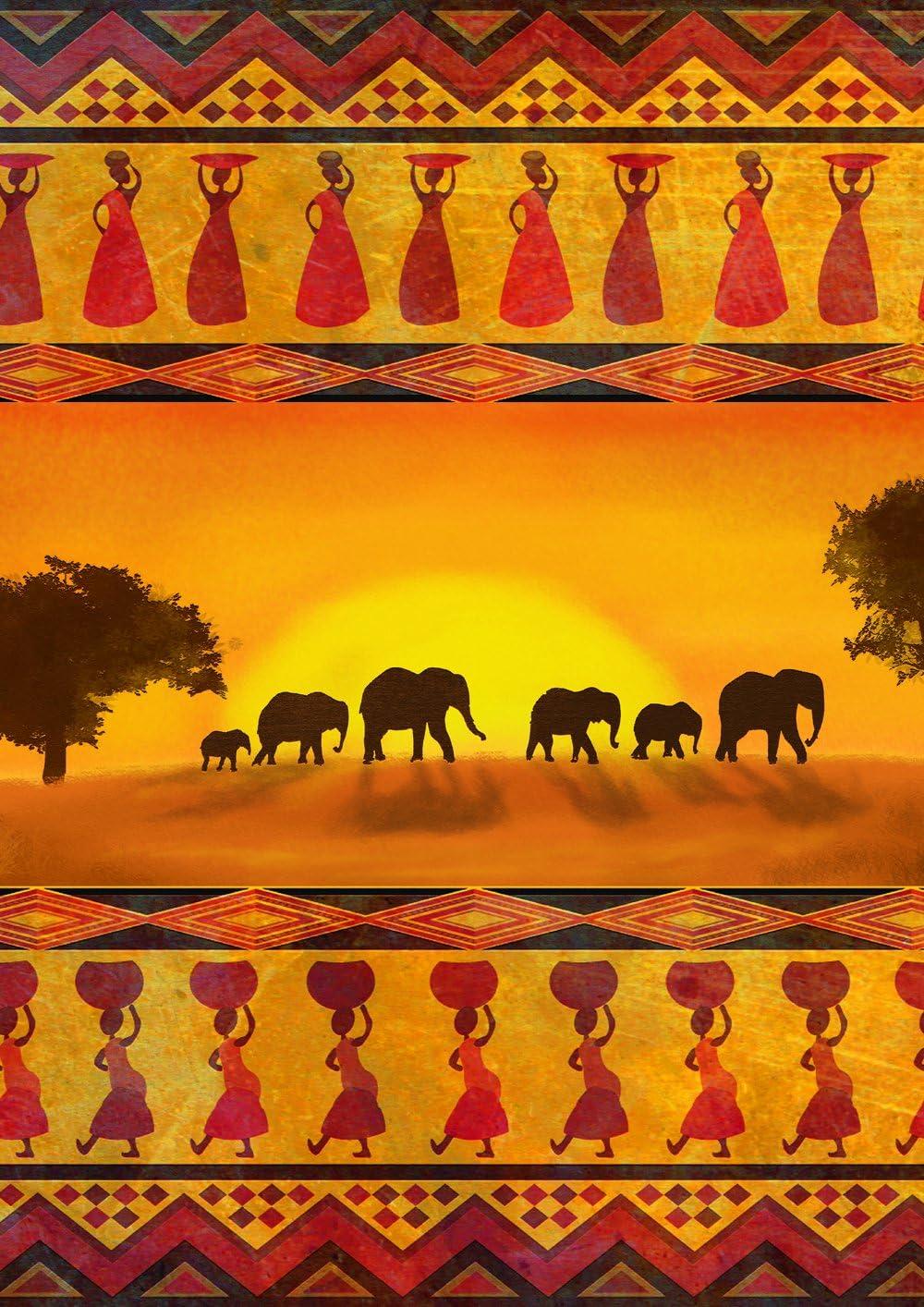 Toland Home Garden Savanna Sunset 12.5 x 18 Inch Decorative Colorful Exotic African Elephant Summer Garden Flag