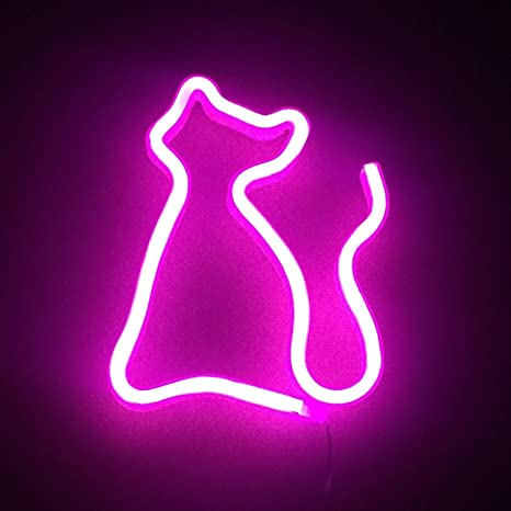 Pink Cat Neon Light Wall Sign - LED Night Lights Wall Lamps Home ...