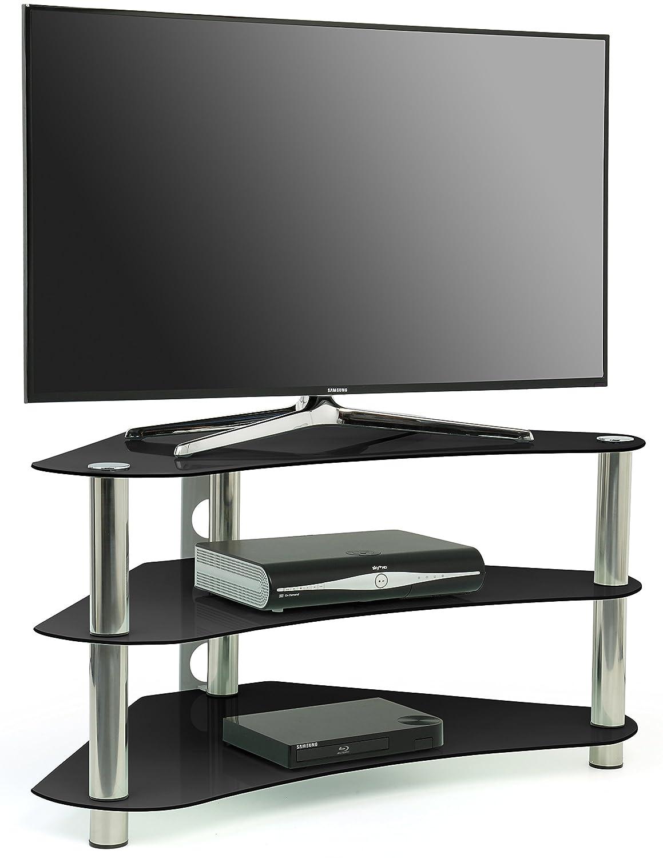 Centurion Gt7 Meuble Tv D Angle Contemporain En Verre Noir Pour  # Meuble Tv Moderne En Verre Laque Blanc Et Noir Lubla