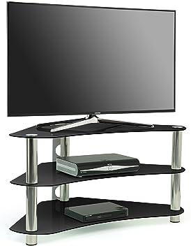 centurion gt7 meuble tv dangle contemporain en verre noir pour crans plats lcd - Meuble Tv D Angle Noir