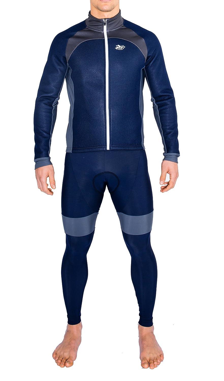 Completo invernale ciclismo giubbino + calzamaglia windtex termico traspirante grigio Threeface