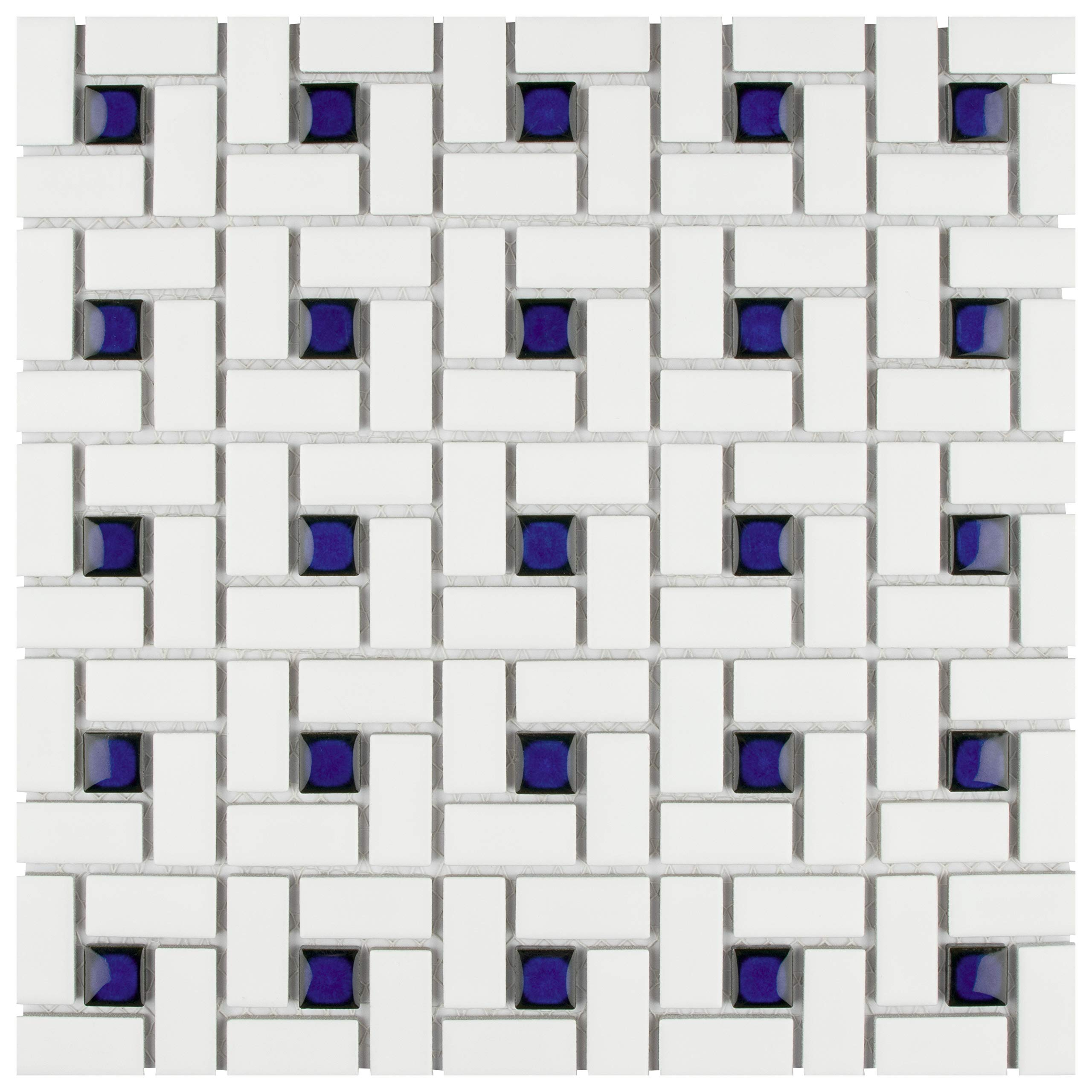 SomerTile FKOMSP24 Retro Spiral Porcelain Floor and Wall Tile, 12.5'' x 12.5'', White/Blue