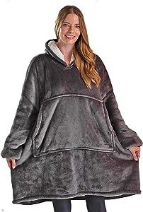 Blanket Sweatshirt, Oversized Sherpa Blanket Hoodie, Soft, Comfy, Warm, Wearable Blanket for Adults, Women, Men, Teens, (Adult, Dark Grey)