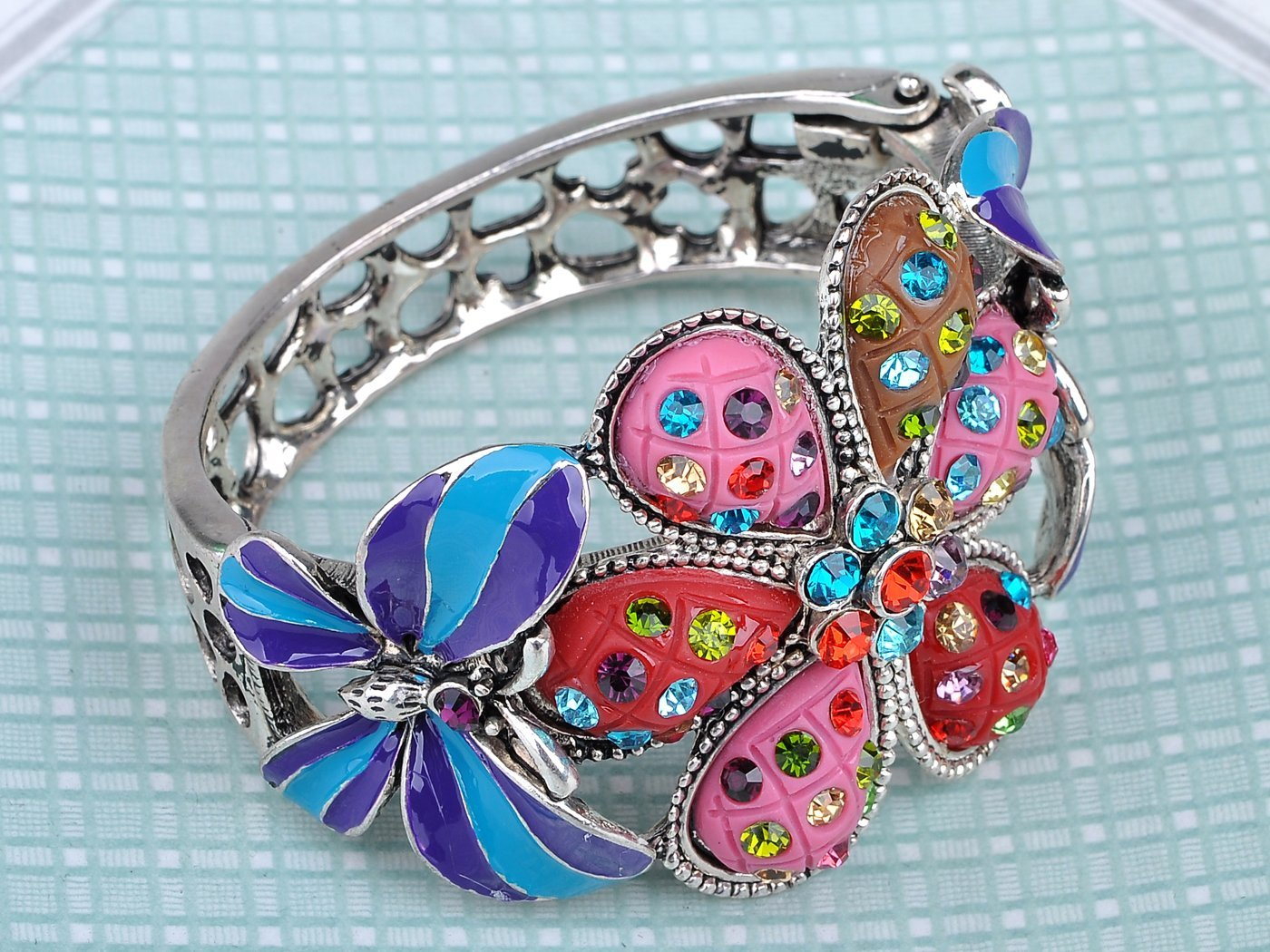 Alilang Multicolor Blue Enamel Floral Big Flower Twin Butterfly Insect Bangle Cuff Bracelet by Alilang (Image #4)