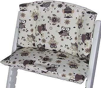 Babys-Dreams zitkussen pad zitkussenset voor stok Tripp Trap hoge stoel (Beige Brown/Beige Uulen$13)