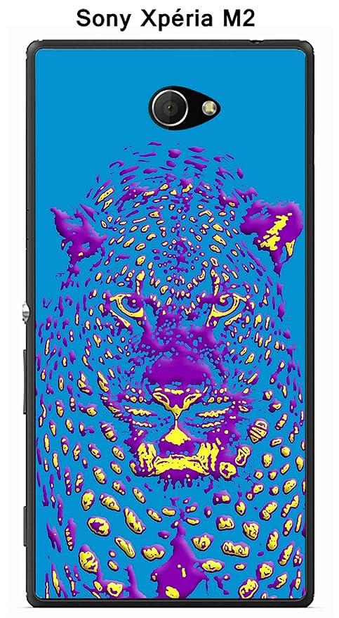 Carcasa para Sony Xperia M2 Design Jaguar azul morado ...