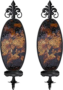 6 x 19 Inches Decorative Metal Wall Candle Sconce - Mosaic Glass Set of 2 (Gold Brown)