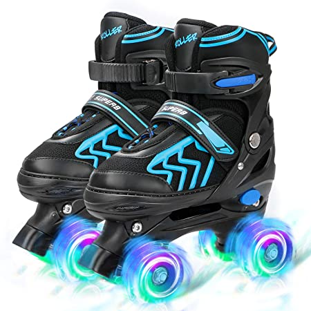 SZHZS Adjustable Toddler Kids Roller Skates with Light Up Wheels for Boys Girls Beginners for Indoor Outdoor Sports