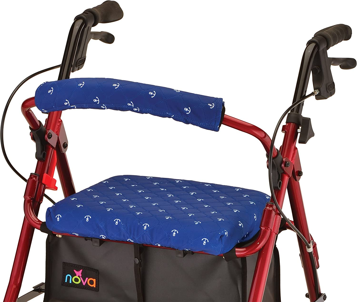 NOVA Rollator Walker Seat & Backrest Covers, Removable and Washable, Anchors Away Design