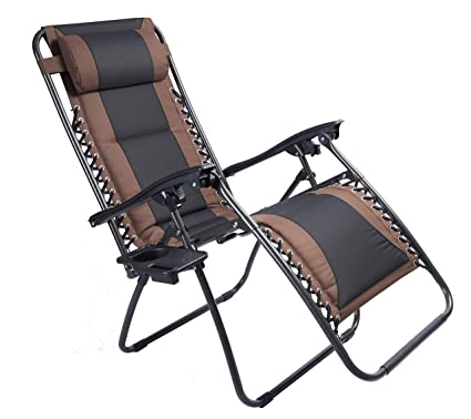 Wondrous Luckyberry Padded Zero Gravity Lounge Chair Patio Foldable Adjustable Reclining With Cup Holder For Outdoor Yard Porch Brown Beatyapartments Chair Design Images Beatyapartmentscom