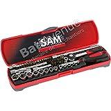 """SAM Outillage 73-R45Z Coffret de douilles/accessoires 1/4"""" 45 Outils de 3,2 à 14 mm"""