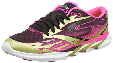 Skechers Skechers Go Meb Speed 3 Womens Running Shoes Gold Hot Pink Coupons