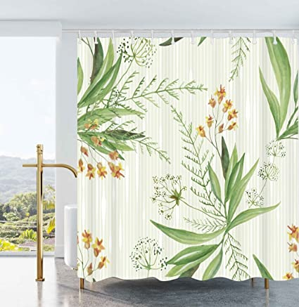Ao Blare Green Shower Curtain Stripe Nature Plants Leaves Yellow Flower Fabric Bathroom