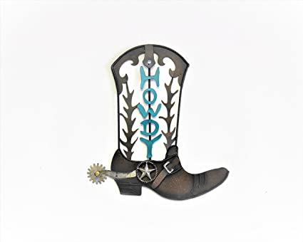 8cd51924018 HOME METAL CIRCLE TEXAS WESTERN HANGING WALL PLAQUES (METAL HOWDY COWBOY  BOOT)