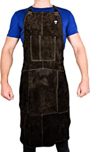 "Waylander Leather Welding Apron Flame Resistant Heavy Duty Bib 40"" Dark Brown with Adjustable Cross Back Apron Straps and Pocket for Men and Women"