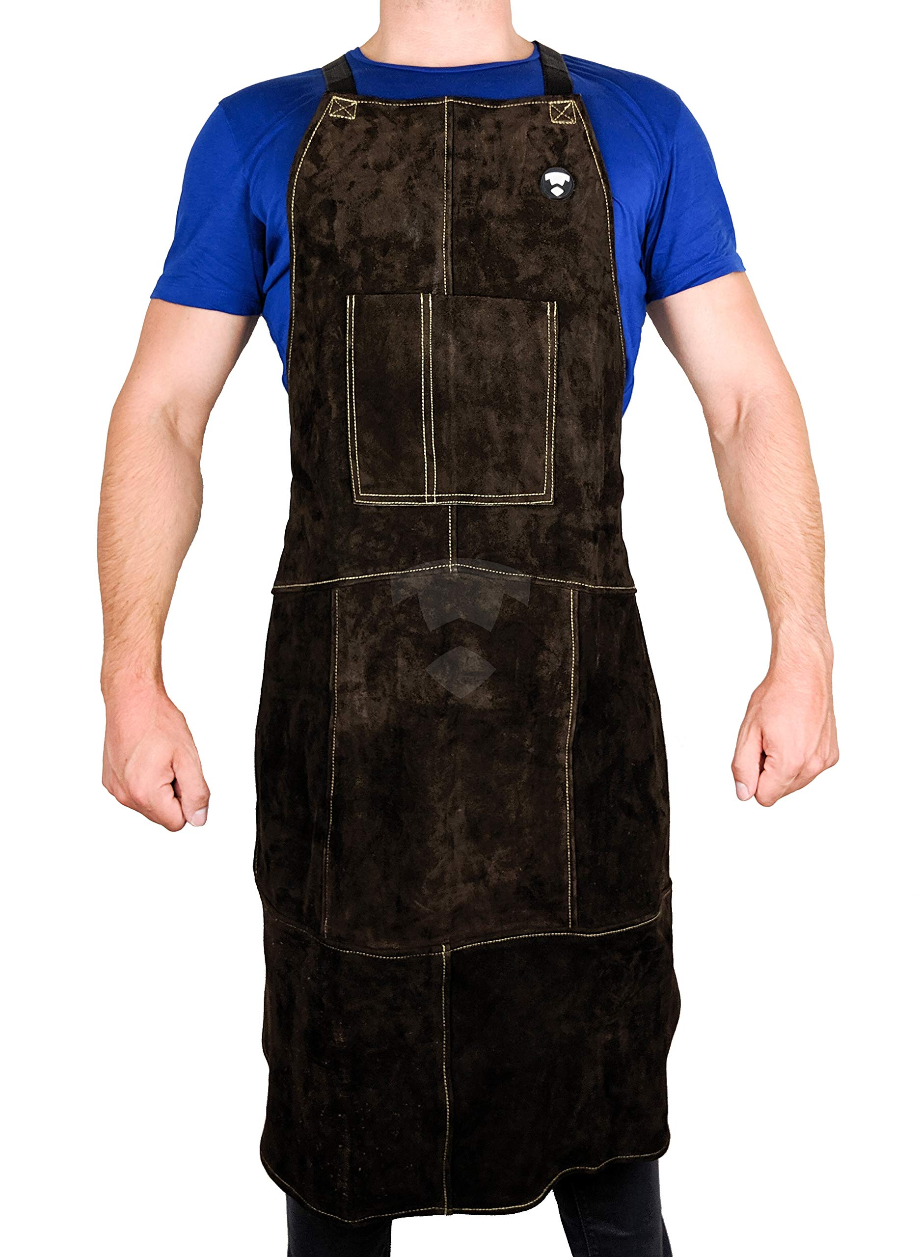 Waylander Leather Welding Apron Flame Resistant Heavy Duty Bib 40'' Dark Brown with Adjustable Cross Back Apron Straps and Pocket for Men and Women