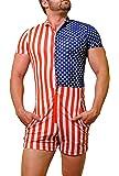 Men's One-Piece American Flag Swimsuit Male Romper