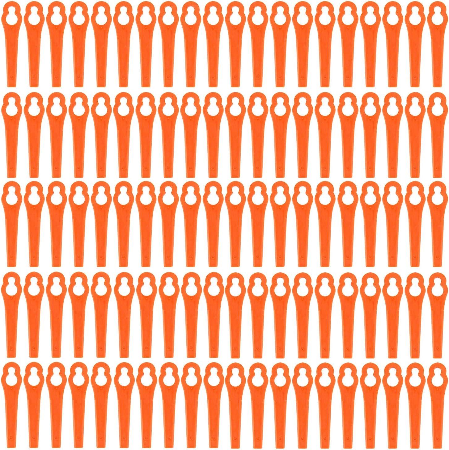Anladia 50/ 100pcs Cuchillas de Recambio para Cortabordes Hoja de Plástico de Cortacésped Colores Diferentes (100, Naranja)