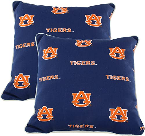 College Covers Auburn Tigers Outdoor Decorative Pillow Pair- 2 16 x 16 Pillows, Blue