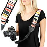 Camera Strap Shoulder Sling with Vintage Stripe Neoprene and Quick Release Buckle by USA GEAR - Works with Canon , Fujifilm , Nikon , Panasonic , Sony and More DSLR , Mirrorless Cameras