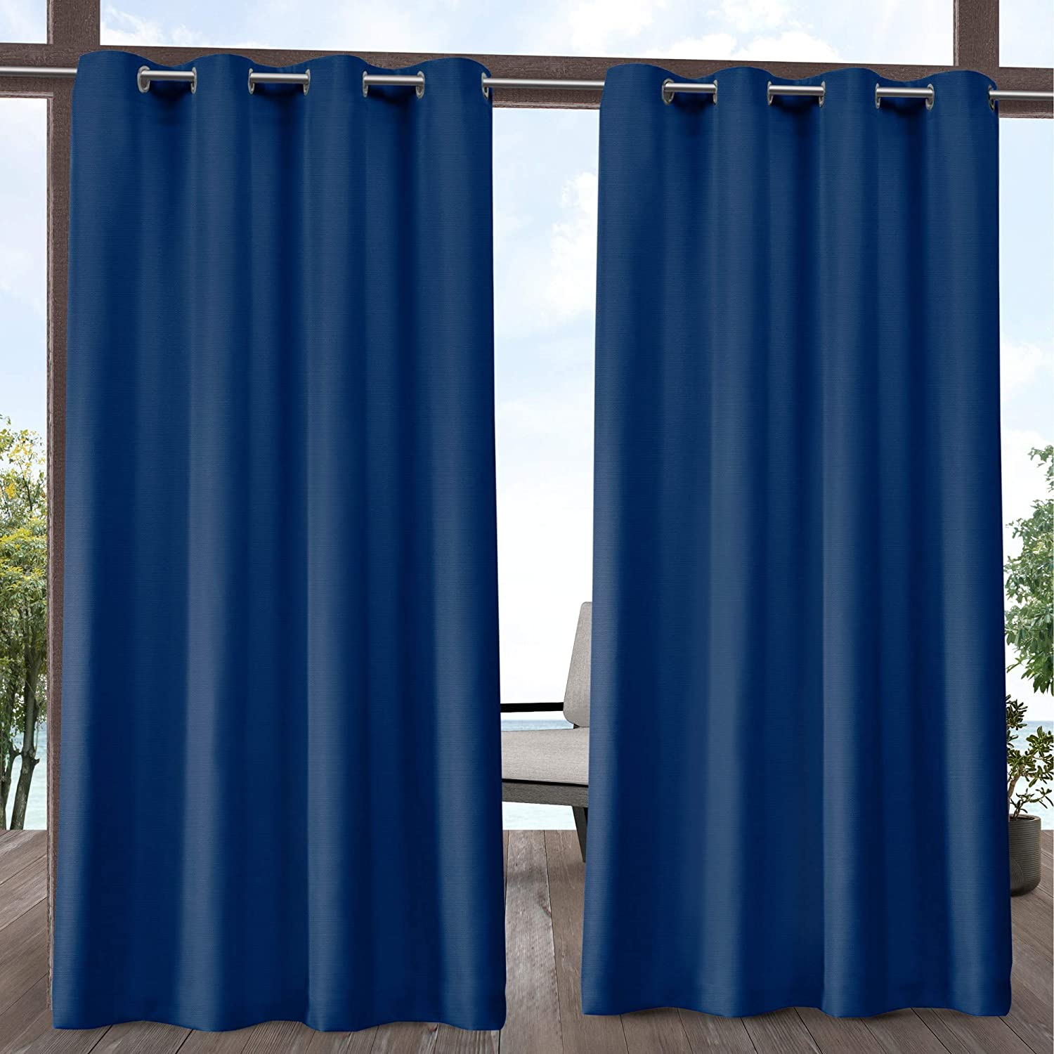 Exclusive Home Curtains Delano Heavyweight Textured Indoor/Outdoor Grommet Top Curtain Panel Pair, 54x96, Azure,EH8170-09 2-96G