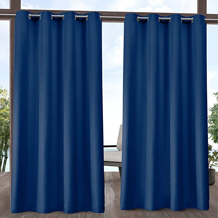 """96""""x54"""" Delano Grommet Top Light Filtering Window Curtain Panels Blue - Exclusive Home"""