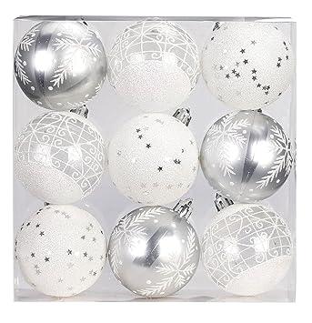 Weiß Christbaumkugeln Kunststoff.9 Stk Pvc Christbaumkugeln 6cm Silber Weiß Ornament Dekor