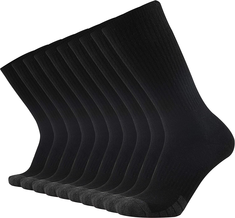 GKX Men's 10 Pairs Cotton Moisture Control Heavy Duty Work Boot Cushion Crew Socks