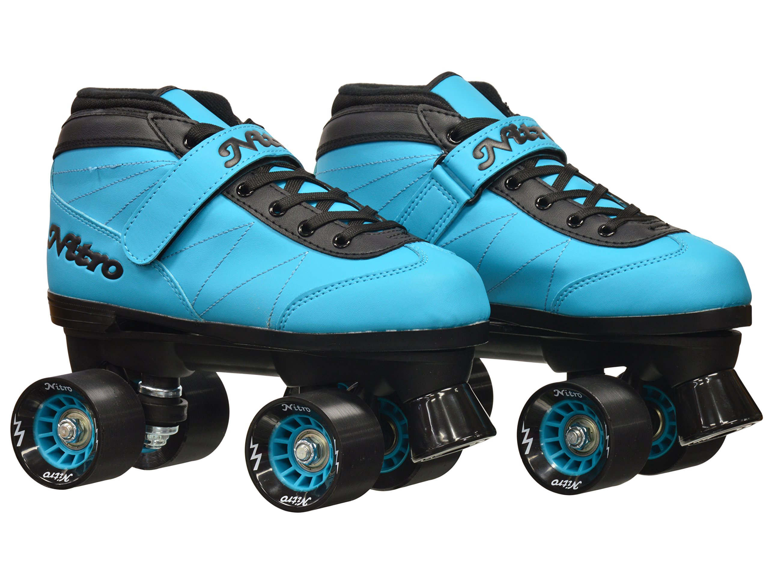 New! Epic Nitro Turbo Blue Indoor / Outdoor Quad Roller Speed Skates w/ 2 Pair of Laces (Blue & Black) (Mens 9) by Epic Skates (Image #2)