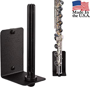String Swing Flute Hanger - Flat Wall Holder for all Flutes - Stand Accessories Home or Studio Wall - Musical Instruments Safe without Hard Cases - Durable Black Powder Coated Steel - HH15-FW