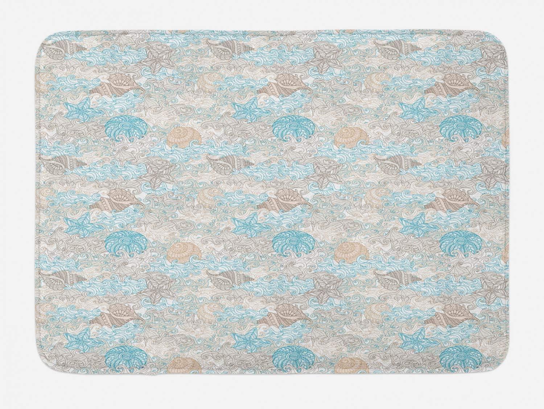 Ambesonne Nautical Bath Mat, Pastel Toned Sea Shell Starfish Mollusk Seahorse Coral Reef Motif Design, Plush Bathroom Decor Mat with Non Slip Backing, 29.5