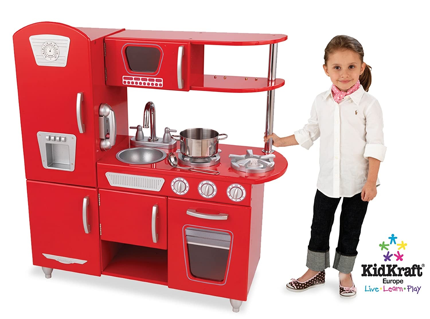 amazoncom kidkraft red vintage kitchen toys  games -