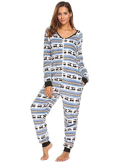 Christmas Jumpsuit Pajamas.Asatr Women S Christmas Jumpsuit Romper Fleece Onesie Pajamas