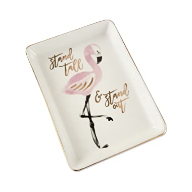 Kate Aspen, Flamingo Trinket Dish Tall & Stand Out Decorative Catchall Tray, Jewelry Storage, One Size, Pink, White and Gold