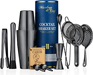 11-piece Cocktail Shaker Set | Mixology Bartender Kit with Weighted Boston Shaker and Bar Tools Set For Home or Professional Bartending | Best Cocktail Set for Awesome Drink Mixing Experience (Black)