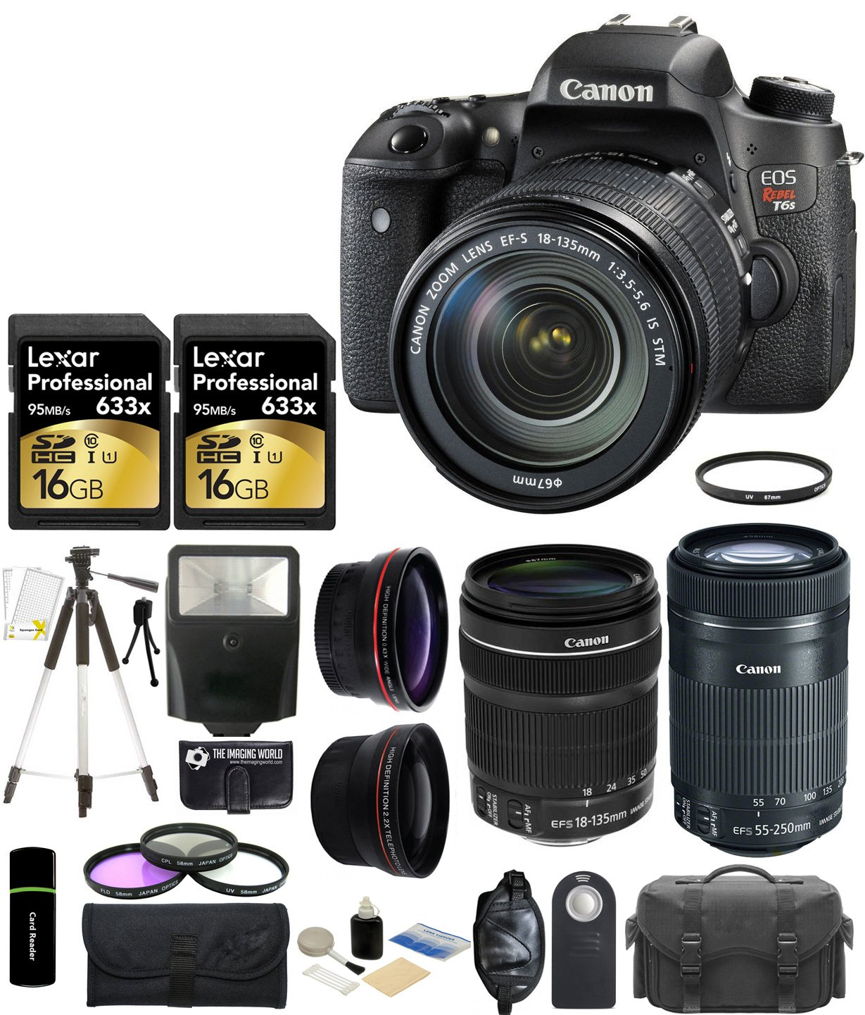 Canon EOS Rebel T6s 24.2MP CMOS Digital SLR Camera with EF-S 18-135mm IS STM Lens + Canon EF-S 55-250mm IS STM Lens + 58mm Wide-Angle + Telephoto Lenses + 2x 16GB Cards + Case + Flash + Tripod + Grip + Filter Kit and More - 32GB Accessories Bundle