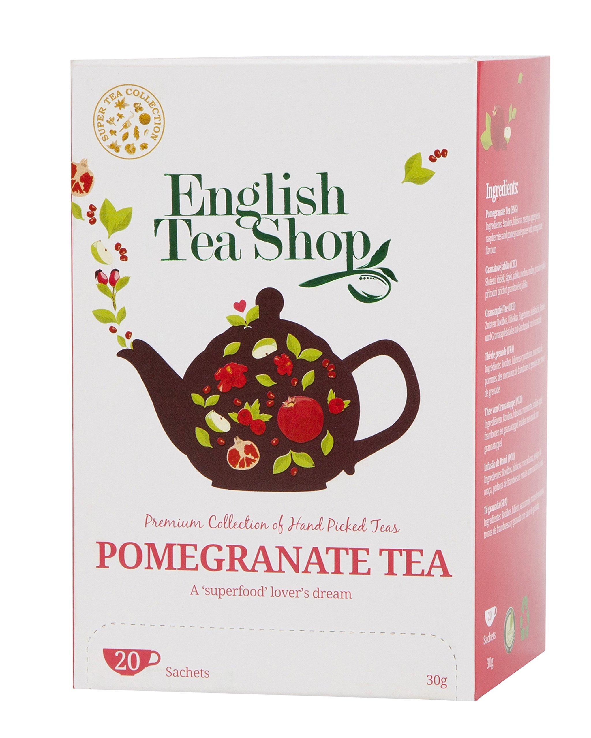 English Tea Shop Super Pomegranate Tea Tea Bags, 30 Gram (Pack of 6)
