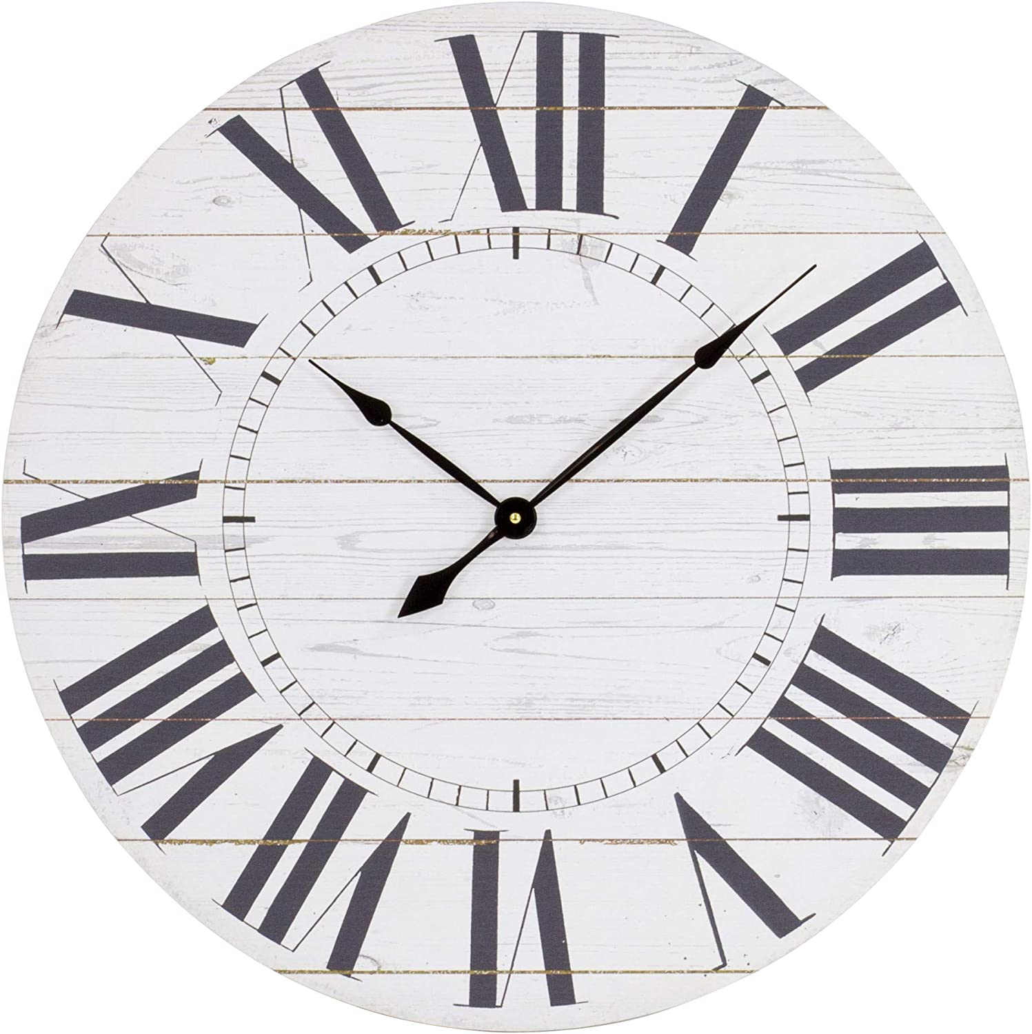 Aspire Estelle French Country Shiplap Face Wall Clock, Pack of 1, White