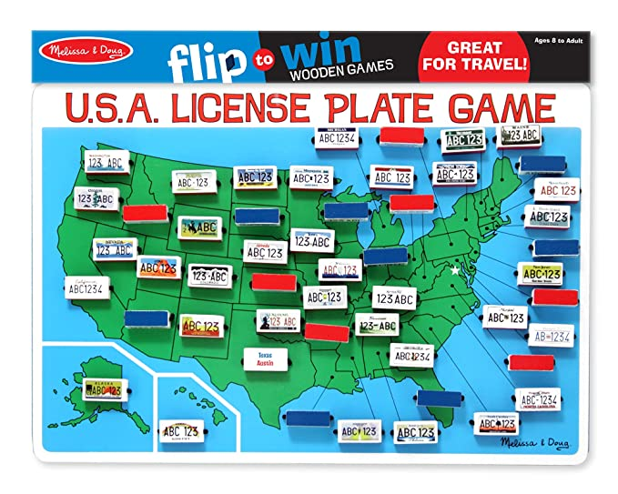 Amazoncom Melissa  Doug Flip To Win Travel License Plate Game - Map license plate us